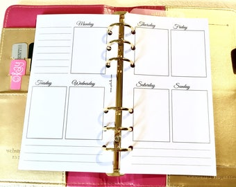 SHIMMER - Week on Two pages - Insert Personal - Filofax - Kikki K - Paperchase - Planner - Ring Binder - 6 holes punched - Undated