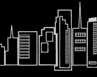 Miami- City Skyline - Florida - Embroidery Design File - multiple formats - 3 sizes- instant download