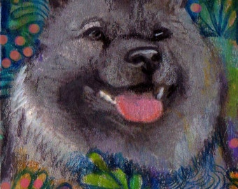 original art  aceo drawing Norwegian Elkhound hound group Westminster