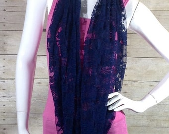 Navy blue floral lace infinity scarf