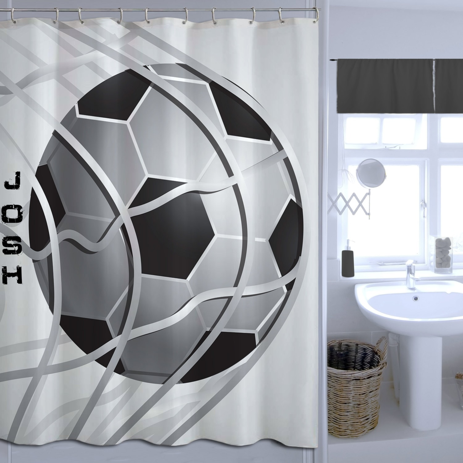 Boys Soccer Shower Curtain Monogrammed