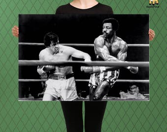 Rocky Inspired, Rocky Balboa v Apollo Creed, Title Match, Custom Raised Canvas Art Piece