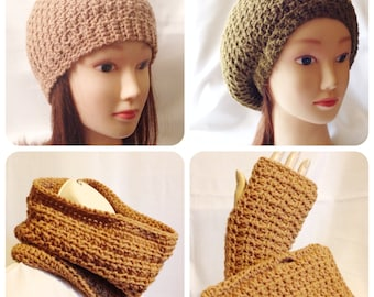 The Honeycomb Crochet Pattern Collection - Beanie, Slouchy Tam, Fingerless Mittens and Cowl Set