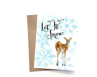 A2 Holiday Card, Christmas Card, New Year's Card, Greeting Holiday Card, Snowflakes Greeting Card, Winter Stationery, Let It Snow, Christmas
