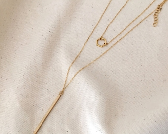 Double Choker necklace and pendant necklace gold / / CATHERINE & LILIANE