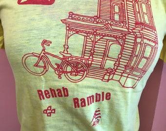 Vintage Tshirt, 80s T-shirt, 7up Shirt, Rehab Ramble, American Youth Hostel, Biking, Screen Stars, S (B331)