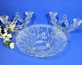 Cambridge Rose Point Console Bowl and Candle Holders Elegant Glass