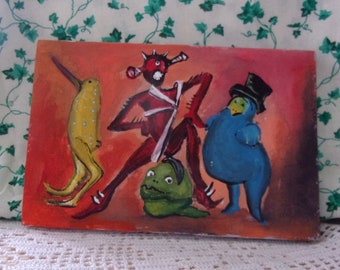 Party under the bed painting one of a kind small original monster painting