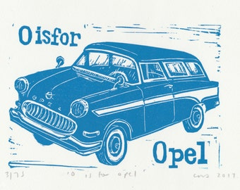 O is for Opel from my Linocut Alphabet of Classic Cars/Motorcycles