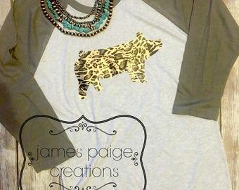 Pig Shirt, Show PIG Raglan T-Shirt, Leopard Print PIG, Stock Show Mom, FFA Mom, Livestock Show Shirt, Show Pig T-Shirt