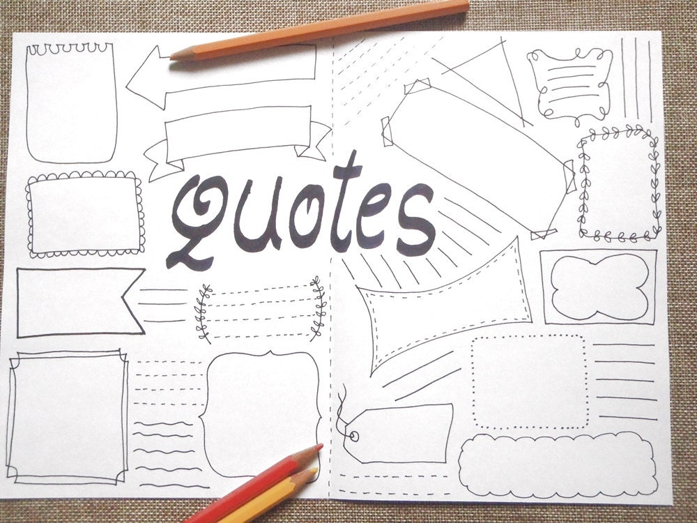 quotes blank boxes journal printable planner layout template