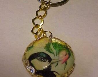 PHOTOCHARM KEYRING~~SONG Bird Sampling Necter from a Lovely Flower~~Unique Key-Ring or Purse Charm~~Feminine & Charming