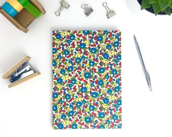 Bright floral notebook, A5 journal, hardback book, pretty stationery