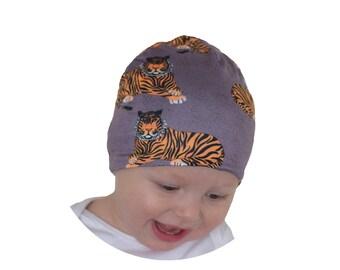 Gray Tiger Beanie Hat