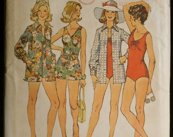 Simplicity 6356 Misses Bathing Suit and Cover Up Vintage 70s Sewing Pattern Sz 12