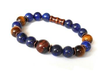 Lapis Lazuli Jewelry, Lapis Lazuli Bracelet, Tigers Eye Jewelry, Men Bracelet, Men Jewlery, Men Tiger Eye Jewelry, Gemstone Beaded Bracelet