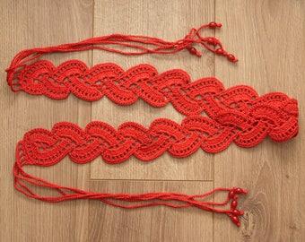 100% cotton crochet belt with beads