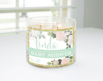 Thank You for Hosting My Baby Shower Custom Candle Label (Mint & Gold) - Hostess Gift