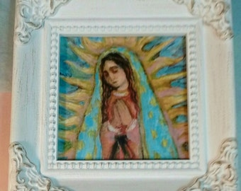 Our Lady of Guadalupe Small Framed Print - Christmas Gifts Under 20 dollars - Confirmation Gift - Nuestra Senora de Guadalupe