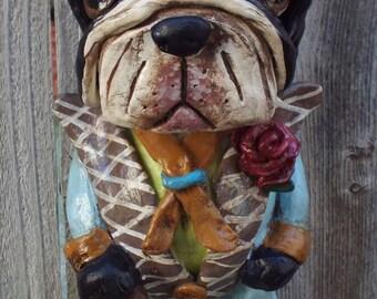 Vintage Nostalgic Style Boston Terrier Dog  Dapper Antique Ooak Folk Art Custom Dog Doll
