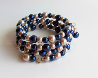 Memory Wire Blue and light Gray Glass Pearl Bracelet/Jewelry/Gift under 20/Women