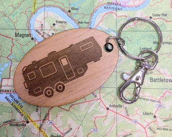 Fifth Wheel Travel Trailer Key Fob, Fifth Wheel Camping Trailer, 5th Wheel Keychain, 5th Wheel Camping Trailer, Camper Keyring, Trailer Key