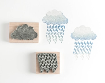Cloud and Rain Rubber Stamps