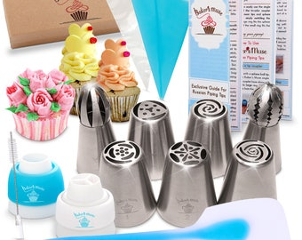 23 pcs Russian Piping Tips-Cake Decorating Gift Set-Exclusive Guide-Silicone Spatula-7 Large Flower and Ball Tips-2 Couplers-11 Pastry Bags