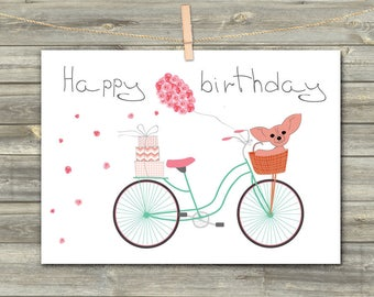 Happy Birthday Card, DIGITAL CARD, Chihuahua, Birthday Card for her, Instant Download, Greeting Card, Cute Card, Funny Card