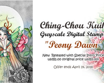Intro Price -Peony Dawn -Grayscale Digital Stamp  - PRINTABLE Instant Download / Oriental Fairy Faery Girl Fantasy Art by Ching-Chou Kuik