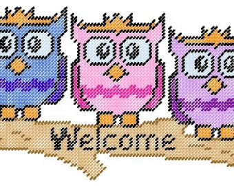 Owl Plastic Canvas Welcome Sign Pattern