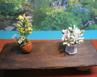 Dolls house 1/12th scale flowers in a terracotta pot and white basket