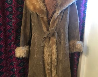 """70s """"almost famous"""" style velvet and faux fur coat"""