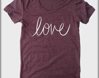 LOVE cursive American Apparel tee tshirt shirt Heathered vintage style screenprint ladies scoop top