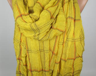 Mustard Scarf Plaid Scarf Crinckle Scarf Flannel Scarf Women Fashion Accessories Christmas Gift For Her For Women Winter Scarf Women Scarf