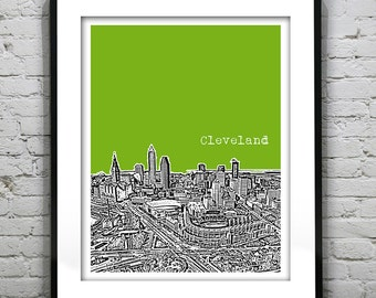 Cleveland Poster Print Art Ohio Skyline  OH Version 3