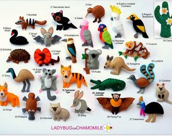 AUSTRALIAN ANIMALS felt magnets, ornaments, toys - price per 1 item - Aussie animals,fridge magnets, Austarlian animals ornaments