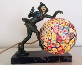 Art Deco Gerdago Pixie Lamp with Millefiori Globe Shade