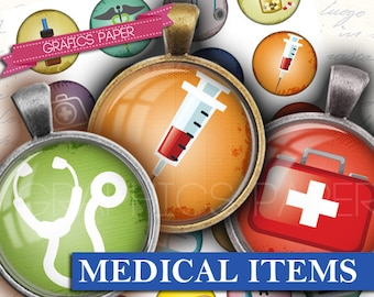 """Medical theme Digital collage sheet - td211 - 1.5"""", 1.25"""", 30mm, 1 inch, 25 mm Printable images Supplie, Pendants, Buttons, Crafts, cabochon"""