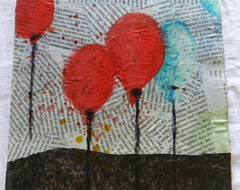Hand-made card, cardboard and paper. and watercolor. Balloons