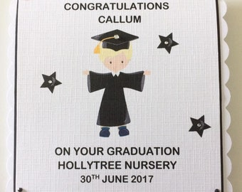Personalised Little Boys Nursery Graduation Scalloped Card - Blonde hair - 5 Different Designs