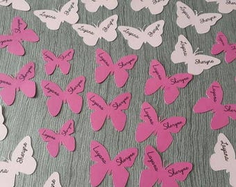 pink butterfly theme table confetti