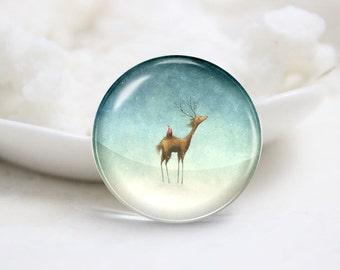 Handmade Round Photo glass Cabochons-Deer (P2915)