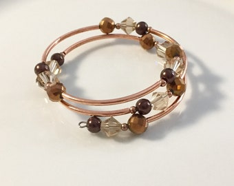 Memory wire brown beaded bracelet, wrap bracelet