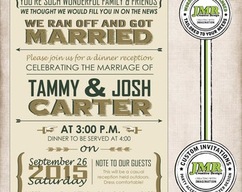 Post Wedding Reception Invitation, Elopement Invite, We Thought You Should Know