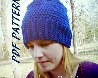 PomPom Slouchy hat crochet PATTERN PDF (instant download) file