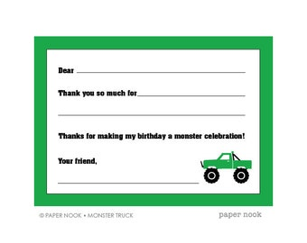 Monster Truck PRINTABLE Fill-in-the-Blank Thank You Note