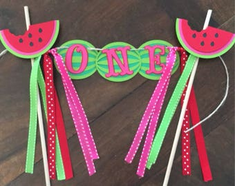 Watermelon Cake Topper, Watermelon Smash Cake, Watermelon Birthday, Watermelon Party, Watermelon Banner, Watermelon Decor