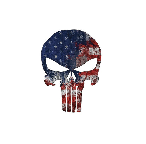 Punisher Skull American Flag Full Color Die Cut Decal