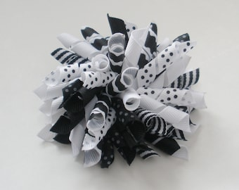 """Large 3 1/2"""" Korker Bow - Black and White with Dots, Scallops, and Stripes"""